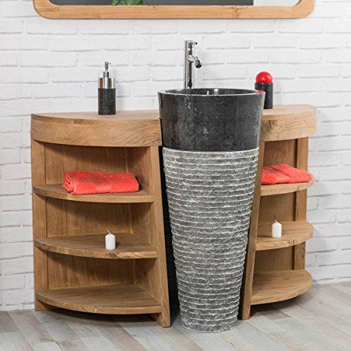 wanda collection Meuble sous Vasque en Teck Florence 120cm + Vasque Noir