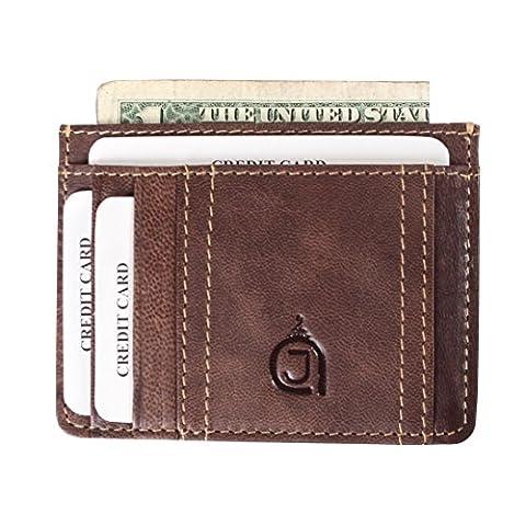 AzraJamil Slim Genuine Leather Dark Brown Credit Card & Note Holder (Ohio Vintage-note)