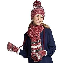 Vimeet Damen Warme Winter Plüsch Mütze Schal Handschuh Set Wintermütze Gestrickt Beanie Mütze Wollmütze Strickmütze Earflap Hut Kappe Schnee Hüte Skimütze Verdicken
