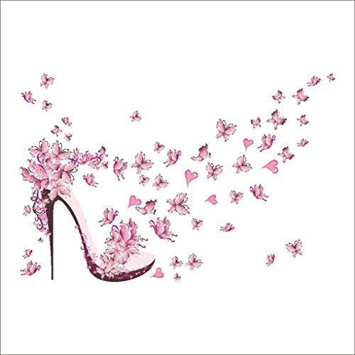 LUFADIY rosa High Heels mit Schmetterlings-Wand-Aufkleber Kreative Kunst-Abziehbilder für Schlafzimmer-Wohnzimmer-Dekoration (Wand Heels)