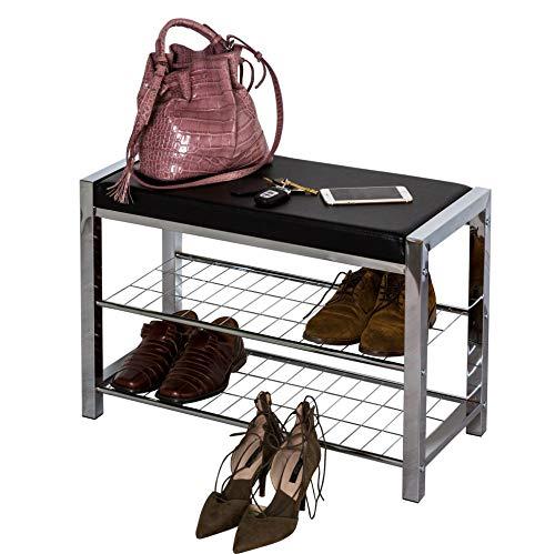 Aspect de Tres Niveles de Almacenamiento Estante para Zapatos/Banco con cojín de Asiento, de Metal, Negro