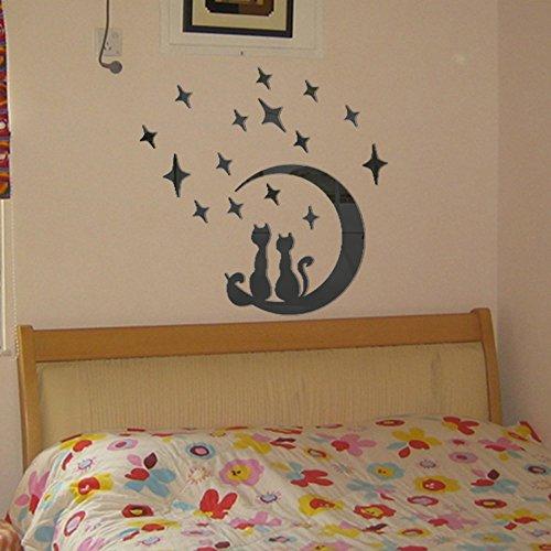 Yumimi88 DIY Mond Katze Moderne Acryl Kunststoff Spiegel Aufkleber Ar-Halle Schlafzimmer 3D Style Wanddekoration Wanddeko Metall Wandaufkleber (Schwarz)