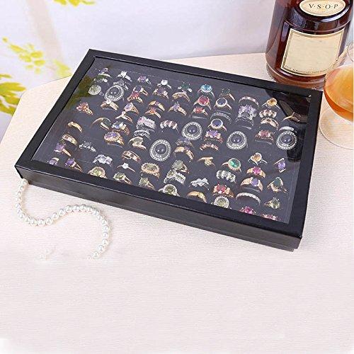 Watopi Caja de Almacenamiento de joyería de Terciopelo, Bandeja de exhibición de Anillos Negros, Priemum, Caja de Almacenamiento de 100 Ranuras, Negro, Free