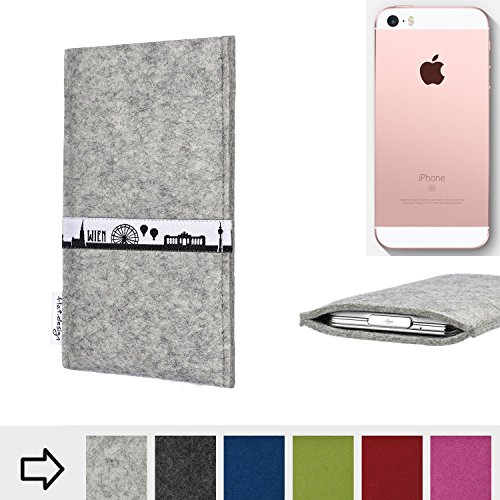 flat.design Filztasche SKYLINE mit Webband Wien für Apple iPhone SE - Maßanfertigung der Filz schutzhülle aus 100% Wollfilz (hellgrau) - Case Hülle im Slim fit Design für Apple iPhone SE hellgrau