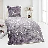 MALIKA Winter Plüsch Bettwäsche Nicky-Teddy Cashmere Coral Fleece 135x200 155x220 200x200 Kissenbezu 80x80, Größe:135 x 200 cm, Design - Motiv:Star GRAU