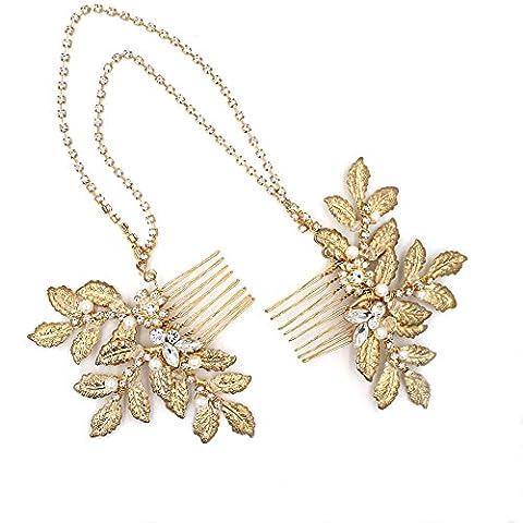grec romain/feuille d'or Comb-bridal Cheveux Chaîne Cristal Postiche Mariage Accessoires Cheveux