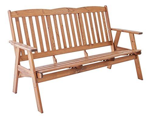 Ambientehome verstellbare Gartenbank 3-Sitzer Bank Massivholz Holzbank Relaxfunktion VARBERG, braun