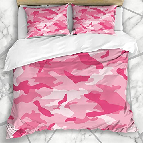 Soefipok Bettbezug-Sets Abstrakt Camo Camouflage Pink Camoflage Nahtmuster Army Military Retro Cam Mikrofaser Bettwäsche mit 2 Kissenbezügen -