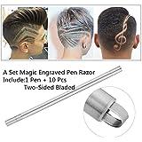 Zantec 1 Set Hair Styling Eyebrows Beards Pen Bolígrafo y 10 cuchillas con acabado en acero inoxidable para salón de afeitar (1pcs)