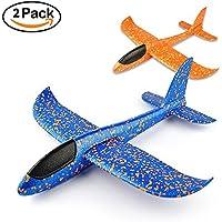 VCOSTORE 2PCS Avión Planeador, EEP, Manual, Avión Planeador para Juguete Infantil o Regalo (Azul y Naranja)