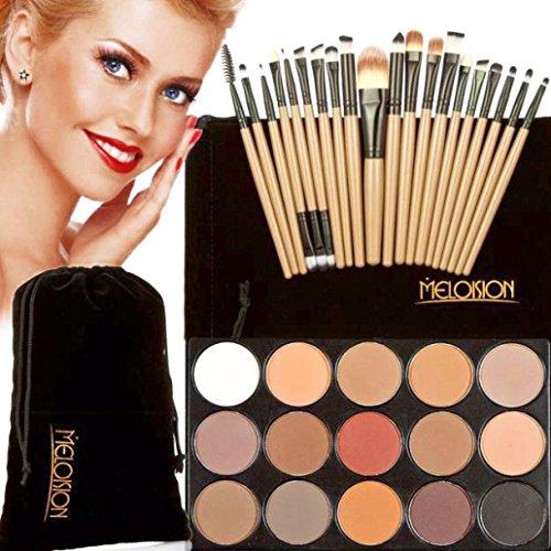 Koly Pinceaux Maquillage Professionnel 15 couleurs de maquillage Correcteur Contour Palette eyeshadow palette + 20 Pcs kit pinceau de maquillage-Brun + Noir