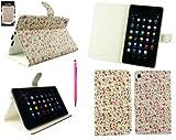 Emartbuy® Asus Google Nexus 7 2 II Tablet (Lanciata Luglio 2013) Hot Rosa Doppia Funzione Stylus + Floreale Rosa Wallet Case Custodia Cover Desktop Stand