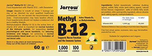 Methyl B12 1000 µg, aktives Vitamin B12 als Methylcobalamin, Lutschtabletten mit Zitronengeschmack, vegan, hochdosiert, Etikett in Deutsch, Englisch und Französisch, Jarrow, 1er Pack (1 x 100 Stück) - 4