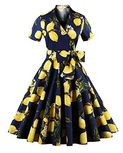 Rétro Vintage Années 50 'S Style Audrey Hepburn Rockabilly Swing, Robe De Bal À Manches Courtes Bleu Lemon