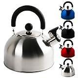 KROLLMANN 2,5 Liter Edelstahl Flötenkessel in verschiedenen Farben Teekessel...