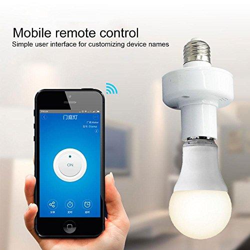 KOBWA Smart WiFi Glühbirne Sockel E27, Smart LED-Glühbirne Adapter Wireless Lampenfassung Stecker Kompatibel mit Alexa und Google Home Assistant, Fernbedienung Ihr Beschläge von überall