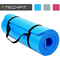 TechFit Yoga Mat Extra Thick with Carry Straps, 180x60 cm, Non Slip, Perfect for Fitness, Gym, Floor Exercises, Camping, Aerobic, Stretching, Abs, Pilates