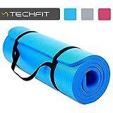 TechFit Colchón para Yoga y Fitness, Espesor Extra de 15 mm, 180 x 60 cm, Ideal para Ejercicios en el Suelo, Gimnasia, Camping, Estiramientos, Abdómenes, Pilates (Azul)