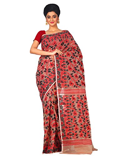RLBFashion Women's Cotton Silk Handloom Dhakai Jamdani Saree (Multi-Coloured)