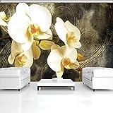 ForWall Fototapete Vlies Tapete Design Tapete Moderne Wanddeko Gratis Wandaufkleber Orchideen auf Baumrinde V8 (368cm. x 254cm.) Photo Wallpaper Mural AMF2948V8 Natur Pflanzen Blumen Orchidee Gelb Braun Wand TAPETENKLEISTER INKLUSIV