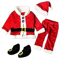 QUICKLYLY 4PCS Conjunto de Navidad para Bebé Niña Niño Santa Tops+Pantalones + Sombrero + Medias Ropa (0~6 Meses(70))