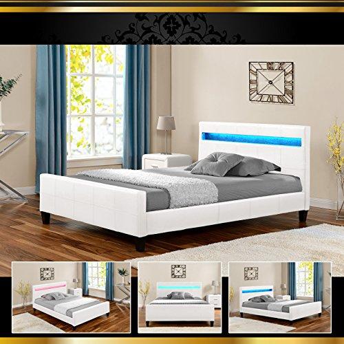 LUNA LED Luxus Weiß 180x200cm Polsterbett Doppelbett Bettgestell Bettrahmen mit Lattenr