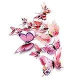 Upxaing 3D Sticker Mural DIY Autocollant Muraux de Double Couche Papillon Decal Aimant Réfrigérateur Home Room Décor Amovible Réutilisable Bricolage pour Salon Chambre Décoration Murale (Rose)