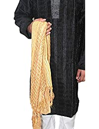 Romano Men's Zari Embroidered Maroon Golden Sherwani Stole Dupatta