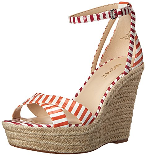 Nine West Joker Synthetic Keilsandale White/Orange/White/Dark Pink