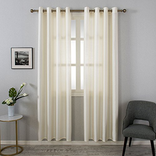 Tülle halbtransparenter Natural Light Flow Kunstseide und langlebigem Material Fenster Vorhang Gefüttert Drapes Panel Behandlung, elfenbeinfarben, 54x 84 - Gefüttert-panels