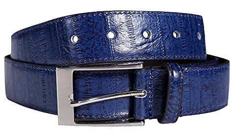 Chocolate Pickle® Nouveau Hommes 35mm Largeur Reptile Peau Réal Cuir Épingle Ceintures Navy - Antique Casual Style Belts