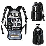 K&F Concept Kamerarucksack/Fotorucksack, SLR Rucksack für Canon Nikon mit Stativhalterung, Laptopfach, Schnellzugriff und Regenschutzhülle Schwarz (S)