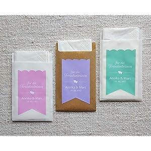 25 Freudentränen Taschentücher Papiertüten Hochzeit Papierhüllen