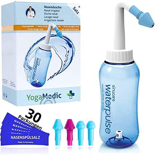 Nasendusche Set 300ml YogaMedic® - 30x Nasenspülsalz 100{5d3db1441dc145f13c0f303ea0eb32324ab1b48a1583c762776cbb0adf0a76f2} aus Deutschland - 4 Aufsätze zur effektiven Nasenreinigung - bei Erkältung Schnupfen Allergie Trockene Nase