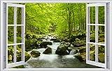 Bach im Wald Urwald Fluss Wandtattoo Wandsticker Wandaufkleber F0356 Größe 60 cm x 90 cm