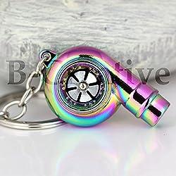 """B-Creative, Schlüsselanhänger """"Turbolader"""" und LED-Taschenlampe, elektrischer Kolbenmotor, Mercedez, perfekte Weihnachtsgeschenkidee, Neon Chrome"""