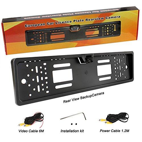 Yinuo 170° HD Color CMOS Cámara De Visión Trasera De Soporte Placa De Matrícula Europeo Impermeable | Visión nocturna | 4 LED, 9-24 V negro
