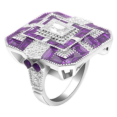 Quadrat Zirkonia Ring Frau Silber Fashion Party Hochzeit Ring Schmuck, 6 ()