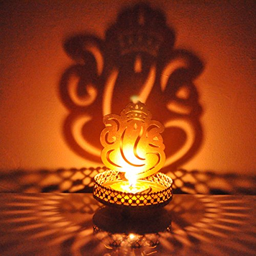 Hashcart Decorative Shadow Ganesh Tea Light Holder For Diwali / Dã£Â©Cor / Gift