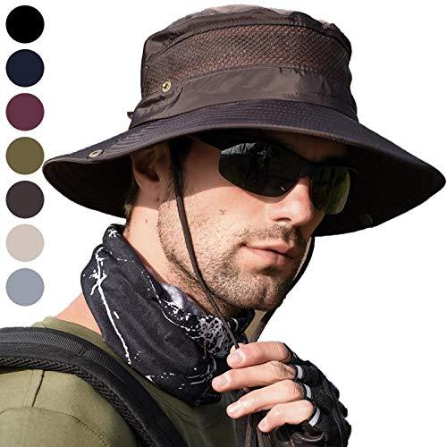 en, UV Schutz Safari Hut, Sonnenschutz, Schnelltrocknend Wasserdicht Hut, Breiter Krempe UV Schutz Nylon Hut, Outdoor Faltbarer Boonie Buschhut, Faltbarer Sommerhut-Braun ()
