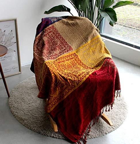 Couverture 5 couleurs bohème bohème chenille plaid couverture canapé décoration sur canapé/lit grande couverture à franges-D_150x190cm