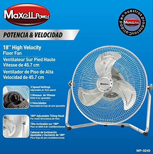 Maxell Power CE Ventilador Industrial DE Suelo SOBREMESA 80W 3 VELOCIDADES Parrilla...
