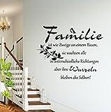 Wandschnörkel® Wandtattoo Kreativ-Set Wandaufkleber HM AA388 FAMILIE ist wie Zweige an einem Baum.Spruch Wanddekoration Wohnzimmer Flur Farbe./Größenauswahl