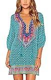 Urbancoco Damen Vintage Bohemian Strandtunika Sommerkleid tunikakleid Bluse (XL, #7)