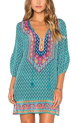 Urban GoCo Femmes Vintage Bohémien Robe Chemise Imprimé à Manches 3/4 Tunique Mini Robe Tops Hauts Shirt (M, #7)