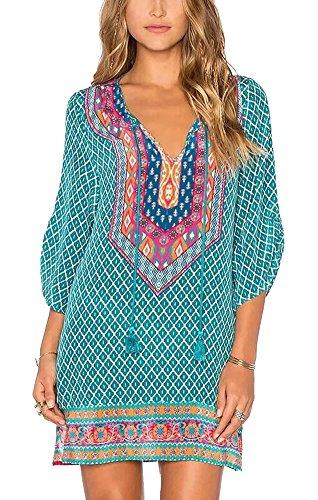Urbancoco Damen Vintage Bohemian Strandtunika Sommerkleid tunikakleid Bluse (XL, #7) -