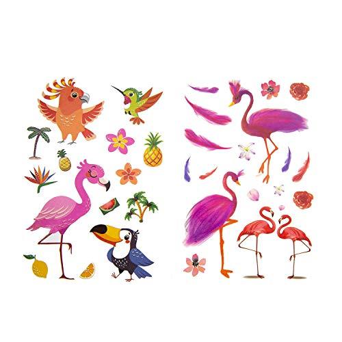 Oblique Unique® Kinder Vogel Tattoos ca. 66 Stück Farbenfroh Temporär Tattoo Flamingo Kolibri UVM. zum Spielen Spielspass zum Kindergeburtstag