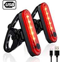 BIKUUL USB Rechargeable LED Bike Tail Light 2 Pack, Bright Bicycle Black Light,Cycling Safety Flashlight, 4 Light Mode Options(2 USB Cables Included)