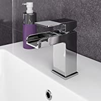 VeeBath Kinross Chrome Waterfall Sink Basin Mixer Tap Modern Luxury Bathroom Lever Faucet With Pop Up Waste