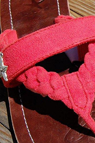 SEESTERN Damen Leder Zehentrenner Zehensandale Zehensteg Sandalen in Größe 36-44 Rosa